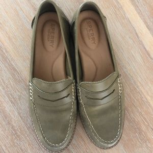 Olive Women's Sperry Penny Loafers